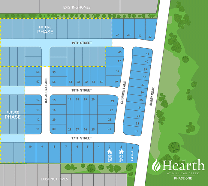 Lot map of new home sites in Lafayette, OR community Milliken Creek